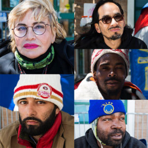 """The Frisco 5 hunger strikers, clockwise from top left, are Maria Cristina Gutierrez, 66, Ilyich """"Equipto"""" Sato, 42, Selassie Blackwell, 39, Ike Pinkston, 42, and Edwin Lindo, 29. – Photos: Lola M. Chavez, Mission Local"""