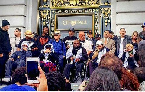 On May 3, Day 13 of their hunger strike, the Frisco 5, gathered outside City Hall after they had gone inside to meet with Mayor Lee, who was a no show, then protested at the Board of Supervisors meeting, were clearly exhausted. After being hospitalized, they finally called a halt to their strike on Day 17.