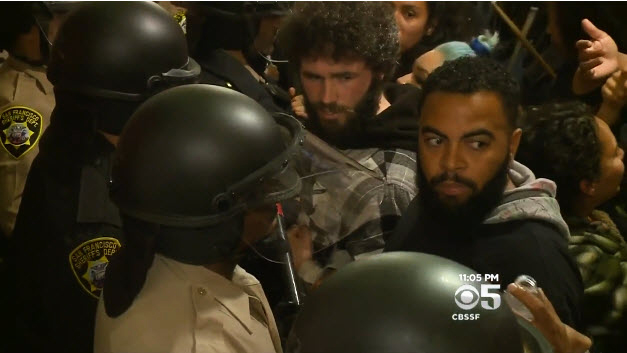 Frisco-5-supporters-occupy-City-Hall-confront-deputies-050616-by-CBS, #Frisco5 end hunger strike so they can join #Frisco500 in the struggle, call for general strike Monday, rally 8:30 am at City Hall, Local News & Views