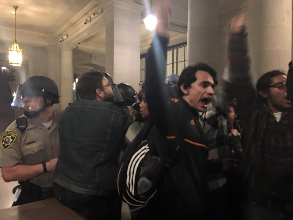 Frisco-5-supporters-occupy-City-Hall-melee-with-deputies-050616-2-by-Shadi-Rahimi, #Frisco5 end hunger strike so they can join #Frisco500 in the struggle, call for general strike Monday, rally 8:30 am at City Hall, Local News & Views