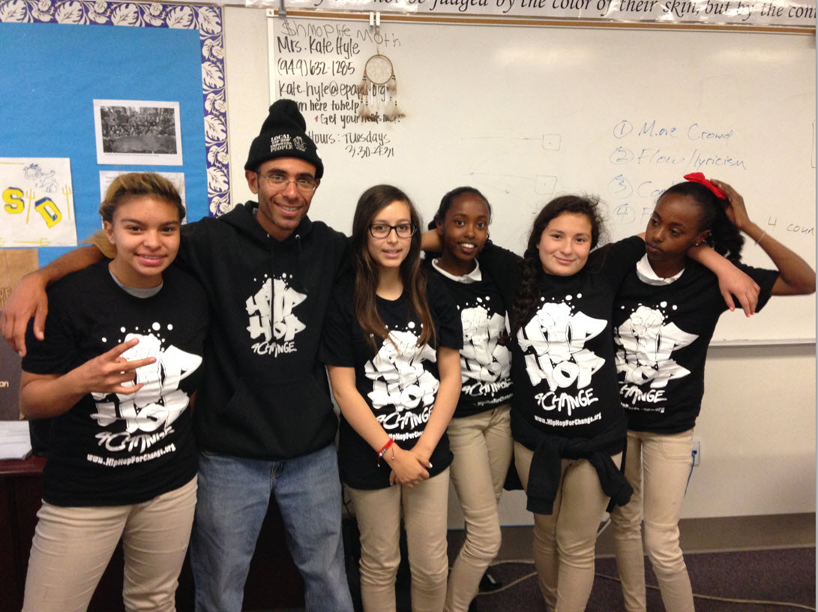 Hip Hop for Change at Aspire East Palo Alto Phoenix Academy – Education Coordinator Malik Diamond and kids