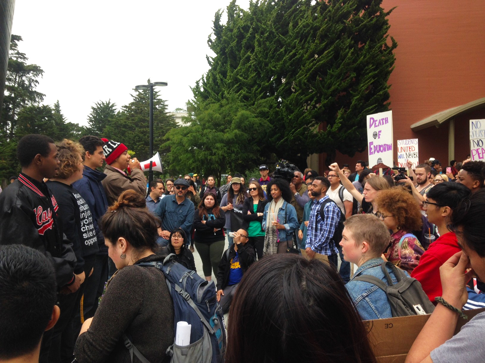 """Hundreds of students rallied at the kickoff for the hunger strike May 2. KQED quoted hunger striker Ahkeel Mestayer, 20: """"If Ethnic Studies doesn't get the $8 million, we're coming for [President Leslie Wong's job],"""" adding that another complaint behind the strike is the administration's retaliation by not allowing the College of Ethnic Studies to hire new faculty for two vacant tenured positions."""