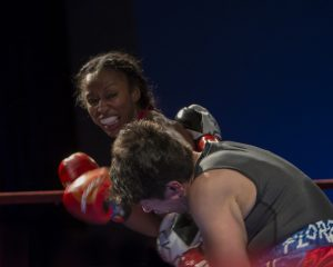 A left hook to Flores' temple was a punch Raquel Miller threw several times in the 74 seconds that the fight lasted. – Photo: Malaika H Kambon