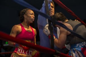 At this point, Sara Flores was not fighting back and the center referee stopped the fight. – Photo: Malaika H Kambon