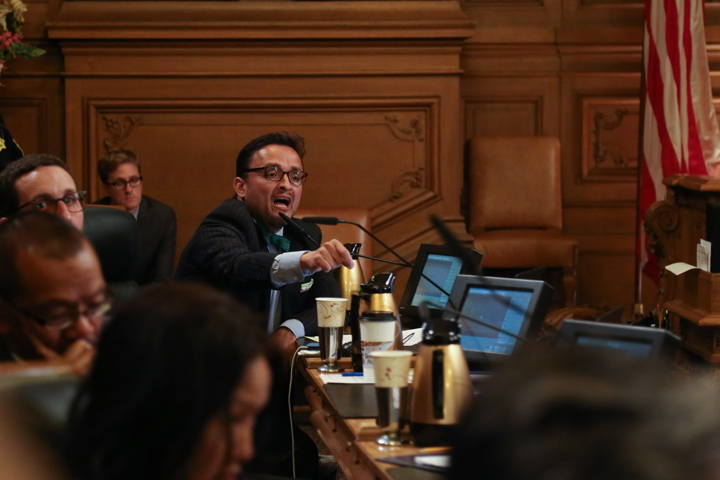 "Supervisor David Campos responds angrily to the Frisco 5, according to Mission Local: ""'The idea that you fire Chief Suhr and that solves things, I'm sorry, that's not what I believe,' said Campos to loud jeers from the crowd. 'We need to change the entire system. It's not just about who the chief of police is; it's about how this department sees itself.'"" The exchange between the Frisco 5 and the supervisors went on for 30 minutes. – Photo: Natasha Dangond, special to The Guardsman"