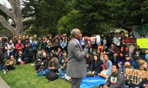 Former SF State student Danny Glover, now an actor and activist, supported the students and called for them to go to their communities to get further support in their struggle against the attacks on the College of Ethnic Studies and gentrification of their school and neighborhoods. – Photo: Steve Zeltzer, Labor Video Project