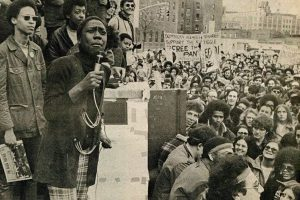 Afeni Shakur speaks at a rally for the New York 21 in 1971. – Photo: Marilyn Kroplick, Shakur Estate