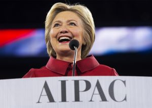 "Slate.com used this photo of Hillary Clinton speaking at the AIPAC conference in Washington, D.C., March 21, 2016, to illustrate a story titled, ""Hillary Clinton's AIPAC Speech Was a Symphony of Craven, Delusional Pandering."" – Photo: Saul Loeb"