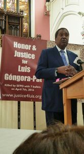 Nationally renowned attorney John Burris, who has fought countless police terror cases, speaks about recent police murder victim Luis Góngora Pat, and unhoused Indigenous man much loved by his neighbors. – Photo: Poor News Network
