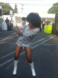 A Stax Records dancer performs at the 2013 Leimert Park Village Book Fair. – Photo: JR Valrey, Block Report
