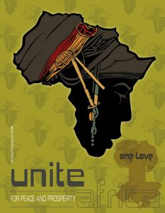 'Unite Africa for Peace and Prosperity and Love' graphic