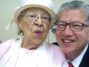 Ms. Verlie Mae Pickens and Anh Le enjoy Men's and Father's Day at Jones Memorial United Methodist Church on June 19, 2016. - Photo: Anh Le