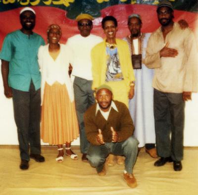 Black history-makers Abdul Majid, Nandi Majid, Robert Seth Hayes, Deborah Brown, Saladum of the Last Poets, Jalil Muntaqim and Brother Saludeen at Green Haven Prison in 1982
