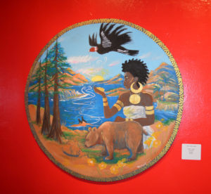 """In """"The New Seal of California,"""" artist, musician, first woman to join the Black Panther Party and a descendant of explorer Sir Francis Drake, Joan Tarika Lewis reimagines the seal of California to be inclusive of her Black identity. Could Queen Calafia, the warrior queen said to have ruled over a kingdom of Black women living on the mythical Island of California, as described by Spanish writer Garci Rodríguez de Montalvo in 1500, also have been an inspiration?"""
