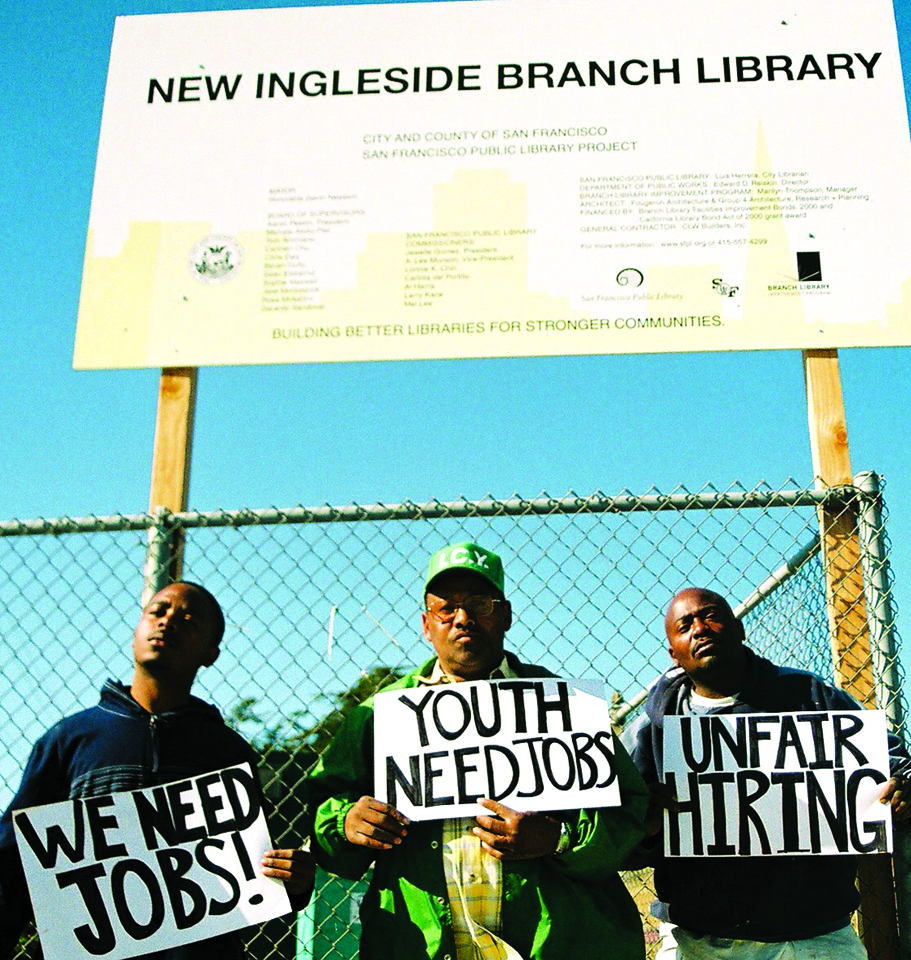 Johntay Allen, Mike Brown and Brett Walker picket the Ingleside Library construction site in May 2008. At that point, it had been a full decade since Blacks were locked out of construction in San Francisco in 1998. – Photo: Lee Hubbard