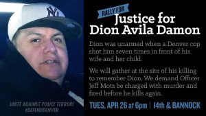 'Justice for Dion Avila Damon' killer cop Jeff Motz poster