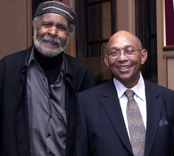 Celebrated artist Eugene White, here with Bay View publisher Dr. Willie Ratcliff, attended a Bay View fundraiser, Our Media Matters Theater Night at the Lorraine Hansberry Theatre on Dec. 29, 2011, with his wife, Lynnette. They have long been strong supporters of the Bay View. - Photo: Malaika H Kambon