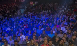 Part of the 8,653 people that sounded like 10,000 people watch a seven fight ROC Nation card of fighters win by KO and by unanimous decisions. – Malaika H Kambon