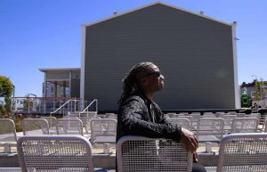 Designer Walter Hood surveys the Bayview Opera House grounds, his plan having become reality. This is the seating area of the redesigned open-air theater on the south side of the building. – Photo: Michael Macor, SF Chronicle