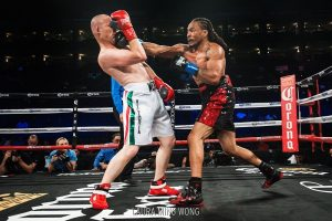 "According to RoundbyRoundBoxing.com, ""Mahasin was able to out-work Lugo with the more effective punches."" – Photo: Laura Ming Wong"