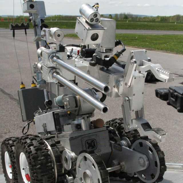 This bomb disposal robot is similar to the one used by Dallas PD to blow up Micah Johnson by strapping explosives to it with duct tape. The U.S. military has been using robots as weapons for some time, but Johnson's murder was the first time a robot had been used by police to kill.