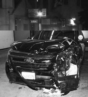 This is the damaged OPD SUV that Omar Shakir was accused of shooting at on July 23, 2016.