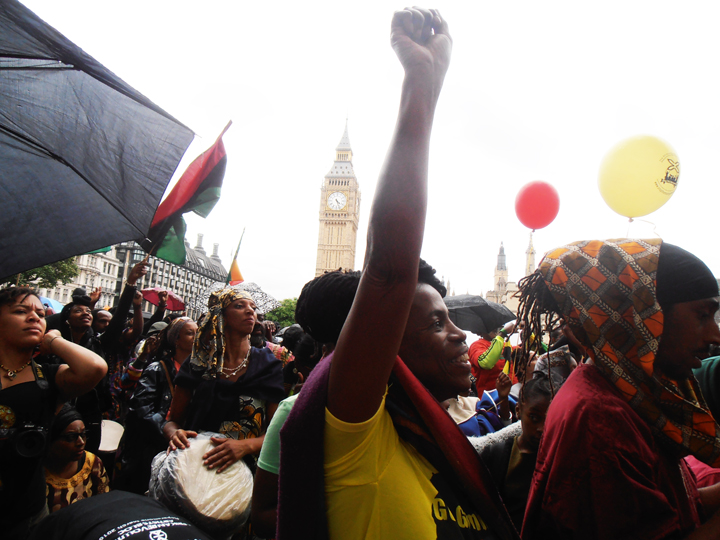 """Thousands say """"Yes for Reparations!"""" at Parliament Square."""