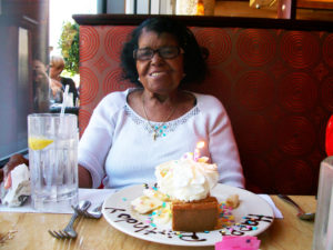 Mary Wilson celebrates her birthday over lunch at the Cheesecake Factory.