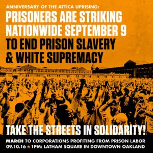 Prisoners-Are-Striking-Nationwide-Sept-9-Oakland-poster-by-BlackOUT-Collective-300x300, Sept. 9: Strike against prison slavery, strike against white supremacy, Behind Enemy Lines