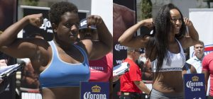 Raquel Miller weighed in at 164.2 and Gabrielle Holloway weighed in at 160 at the official weigh-in held at Oakland's City Hall (Oscar Grant) Plaza. – Photo: Malaika H. Kambon