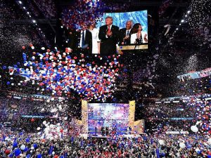 After Donald Trump accepts the Republican presidential nomination comes the balloon drop that has become a standard highlight of both major parties' conventions – the conventions as empty as the balloons. – Photo: Jim Watson, AFP