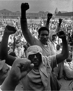 Thirteen hundred prisoners, their spirits high, filled the Attica yard at the beginning of the Attica Rebellion, on Sept. 9, 1971. The rebellion was inspired not only by intolerable conditions at Attica but also by the assassination of George Jackson at San Quentin in California two weeks earlier, on Aug. 21, 1971.