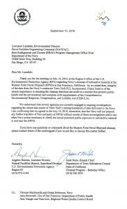 This letter confirms the Navy's agreement with the regulators not to transfer any more of the Shipyard to the City pending a re-examination of the soil samples fraudulently declared clean.