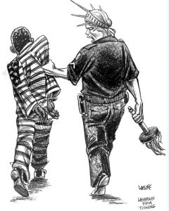 Imprisonment-in-the-US-cartoon-by-Latuff-2008-240x300, George Jackson University supports the historic Sept. 9 strike against prison slavery, Behind Enemy Lines