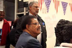 On election night, Nov. 5, 2014, Nat Bates and Corky Boozé watch election returns at Bates' campaign office. – Photo: Brett Murphy, Richmond Confidential