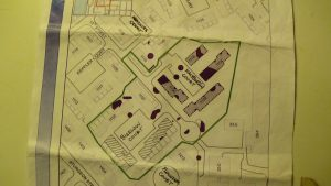 This Navy map shows 13 chemical digs – for dioxins, BAPs, PCBs and lead – on Treasure Island. – Photo: Carol Harvey