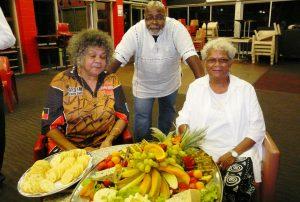Runoko Rashidi and two Indigenous Australian activists in Townsville, Australia, in October 2008