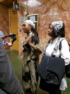 Sala-Haquekyah Chandler and Kanika Lemon, grandmother of Harith Achan, are interviewed in the San Francisco Courthouse. – Photo: Poor News Network