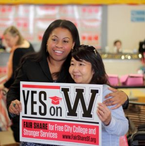Shanell and a fellow supporter urge everyone to vote and to vote YES on Prop W to make City College free again.