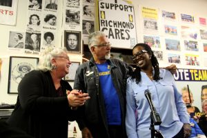 """Team Richmond"" progressive City Council candidates Gayle McLaughlin, Eduardo Martinez and Jovanka Beckles celebrate their victory in the November 2014 election, ending decades of domination of Richmond politics by the Chevron refinery and other oppressive forces. – Photo: Tom Goulding, Richmond Confidential"
