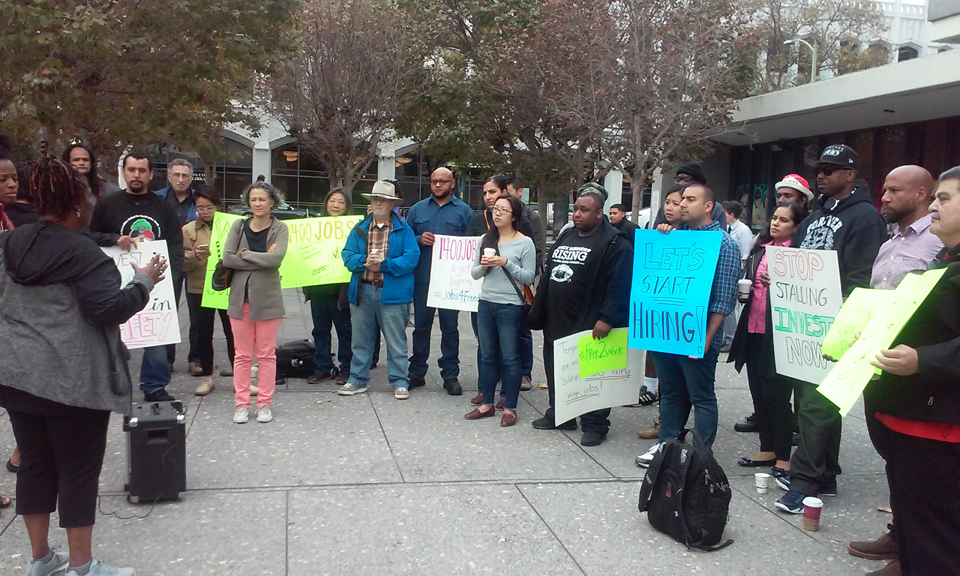 Formerly incarcerated people rally for the 1,400 county jobs promised by Alameda County last June. Over the past eight years, since the county banned the box, 751 formerly incarcerated employees have been hired. – Photo: Justice Reinvestment Coalition