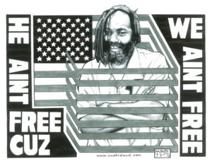 """He ain't free cuz we ain't free"" – Art: Kevin ""Rashid"" Johnson, 1859887, Clements Unit, 9601 Spur 591, Amarillo TX 79107"