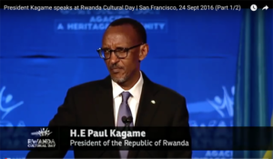 Having been ejected, Ann and Jeremy had to resort to a broadcast to watch the Rwanda Day speeches. This is Rwanda President Paul Kagame.