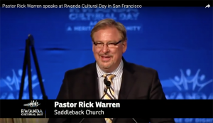 This is Rev. Rick Warren speaking at Rwanda Day.