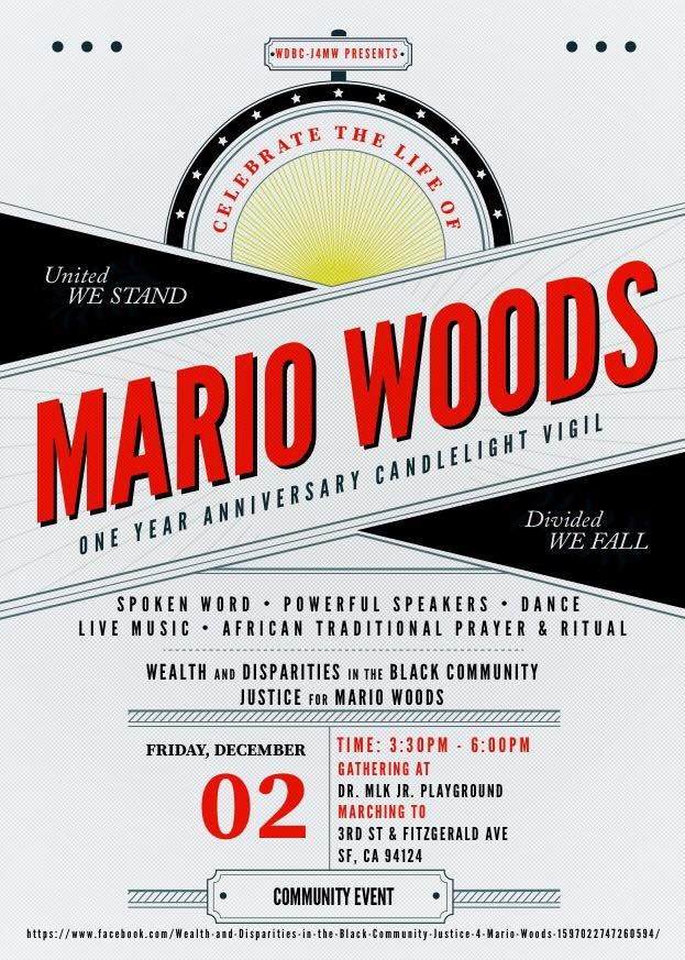 Mario-Woods-One-Year-Anniversary-Candlelight-Vigil-poster-by-Wealth-and-Disparities-in-the-Black-Community-–-Justice-4-Mario-Woods, Activists to San Francisco DA: Prosecute, Gascón!, Local News & Views