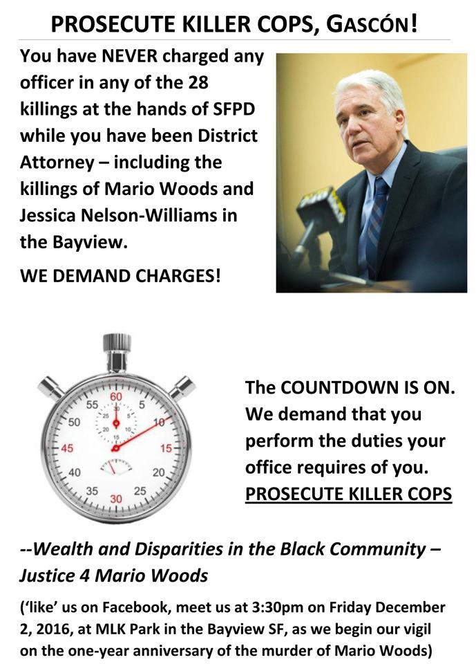 PROSECUTE-KILLER-COPS-GASCÓN-graphic, Activists to San Francisco DA: Prosecute, Gascón!, Local News & Views