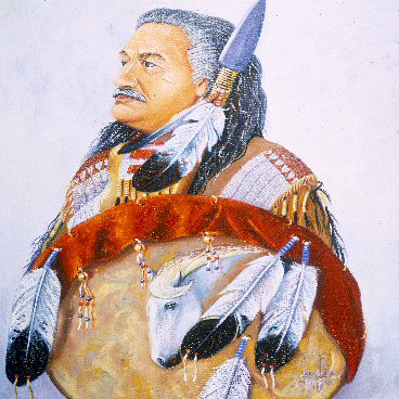 """Leonard Peltier is not only renowned as a political leader, writer and poet, but a painter as well. Here, he portrays himself as the traditional warrior he is. He writes, """"Through my paints, I can be with my People – in touch with my culture, tradition and spirit. I can watch little children in regalia, dancing and smiling; see my elders in prayer; behold the intense glow in a warrior's eye."""""""
