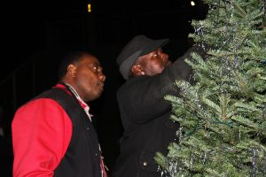Double-Rock-tree-lighting-Dwayne-Gaines-Ron-Whittenberg-trim-the-tree-112616-by-Price-Dean-web-300x200, Second annual Christmas tree lighting brings joy and love to Double Rock – activities continue through the year, Local News & Views
