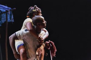 """Max (Andy Lucien) loves but is betrayed by Rose (Brittany Bellizeare) in """"The Last Tiger in Haiti"""" at Berkeley Rep. – Photo: Jim Carmody"""