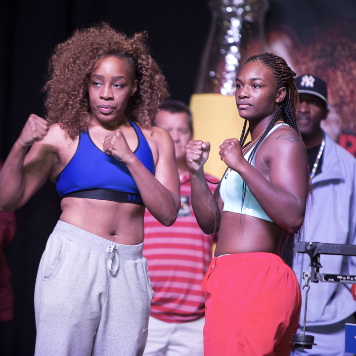 """""""The Heavy Hitting Diva"""" and eight-time national champion Franchon Crews (left) faced two-time Olympic gold medalist Claressa Shields, both in their professional debuts. The bout is the second in history to grace a ROC Nation fight card. The historic first time, Raquel Miller (2-0, 1 KO) defeated Sara Flores (0-1) on the Ward vs. Brand undercard. – Photo: Malaika Kambon"""